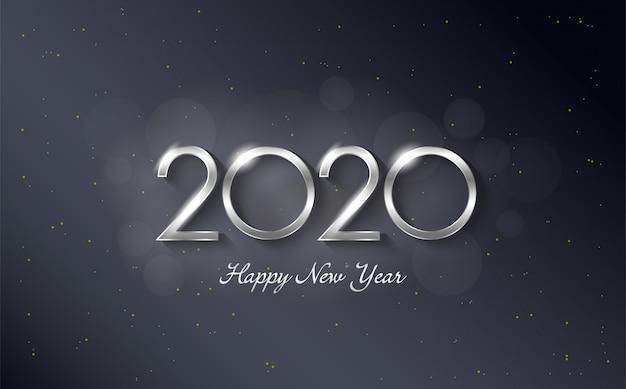 Fondo de feliz cumpleaños 2020 con elegantes y lujosas figuras de color plateado Vector Premium