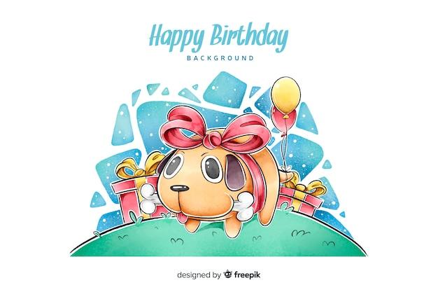 Fondo de feliz cumpleaños en acuarelaballo vector gratuito