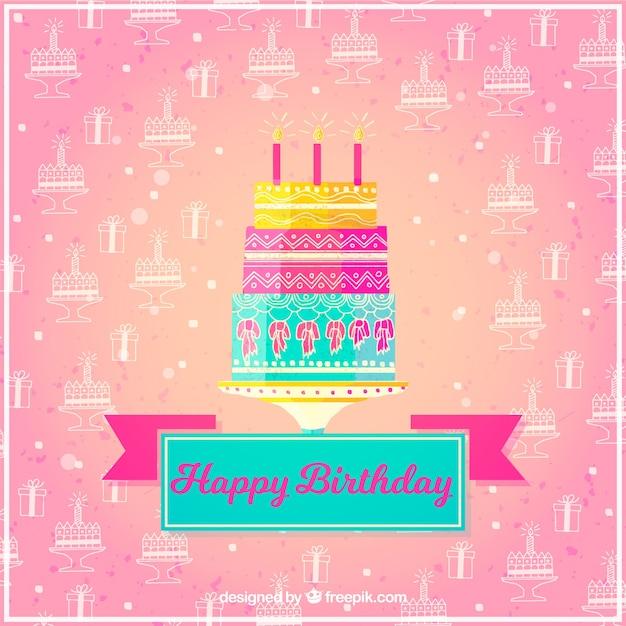 Fondo De Feliz Cumpleaños Con Bonita Tarta Vector Gratis