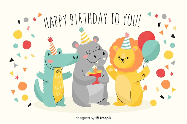 Fondo feliz cumpleaños dibujado a mano estilo vector gratuito