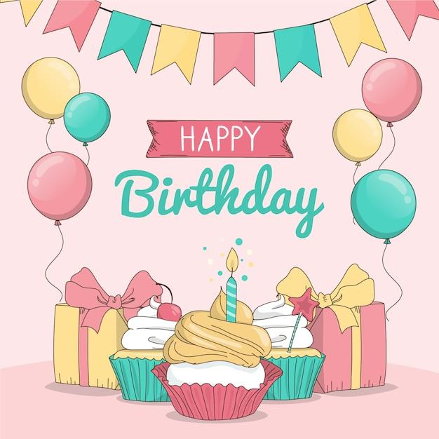 Fondo de feliz cumpleaños dibujado a mano vector gratuito