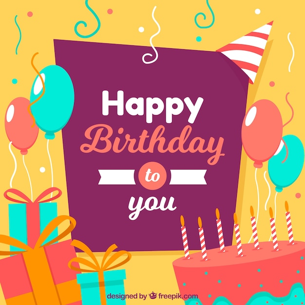 Fondo feliz cumpleaños con diseño plano | Descargar Vectores gratis