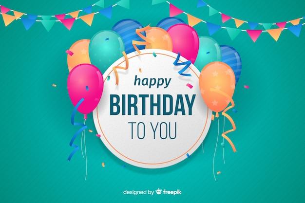Fondo de feliz cumpleaños en diseño plano vector gratuito