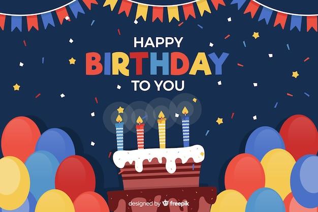 Fondo feliz cumpleaños en estilo plano vector gratuito