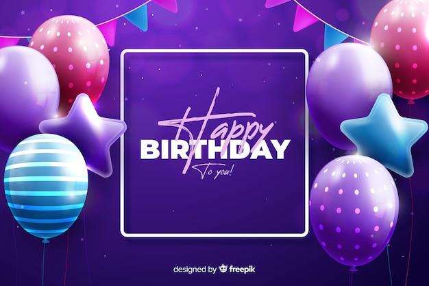 Fondo de feliz cumpleaños estilo realista vector gratuito