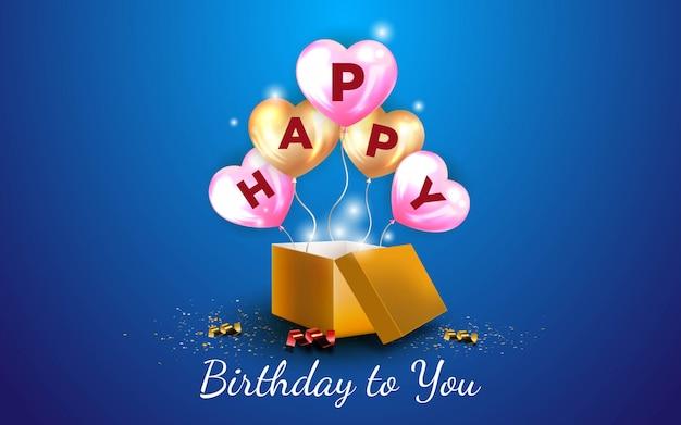 Fondo de feliz cumpleaños con un globo de amor dorado y globos de amor rosa Vector Premium