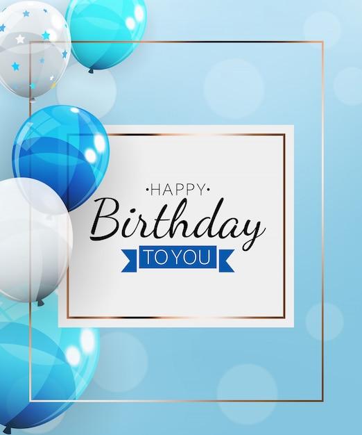 Fondo de feliz cumpleaños con globos. ilustración Vector Premium