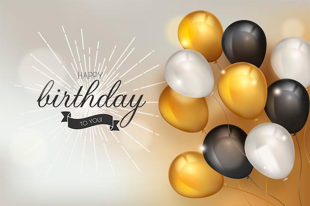 Fondo feliz cumpleaños con globos realistas vector gratuito