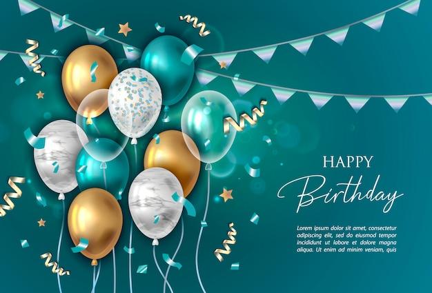 Fondo feliz cumpleaños con globos. Vector Premium