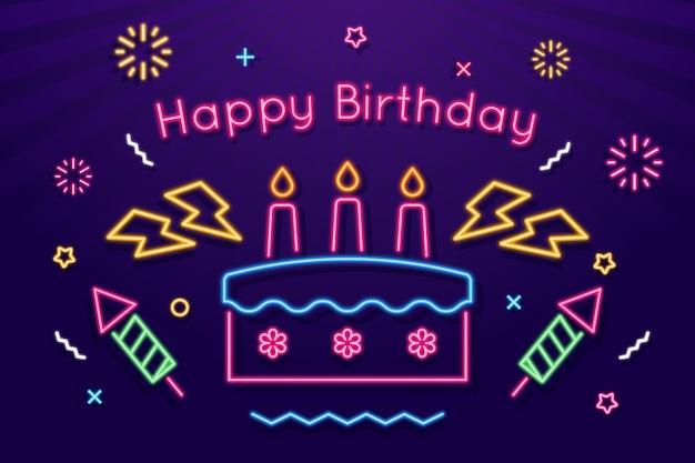 Fondo de feliz cumpleaños de neón Vector Premium