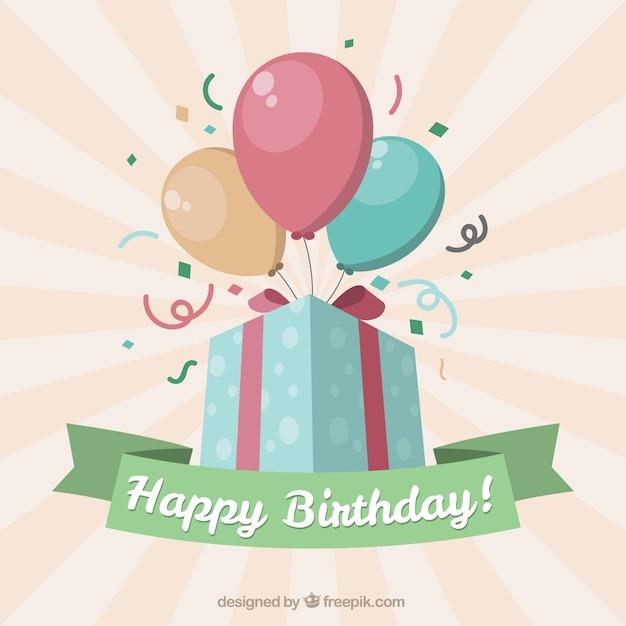 Fondo de feliz cumpleaños de regalo con globos vector gratuito