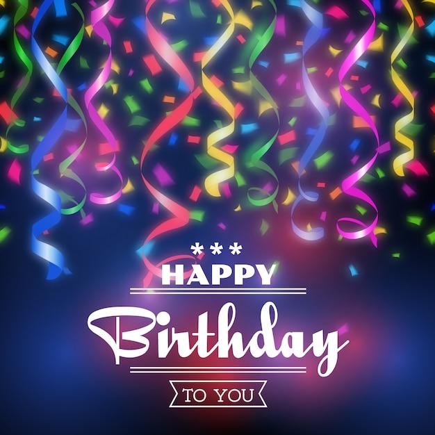 Fondo de feliz cumpleaños tipografía. celebración de diseño, decoración de invitación a fiesta vector gratuito