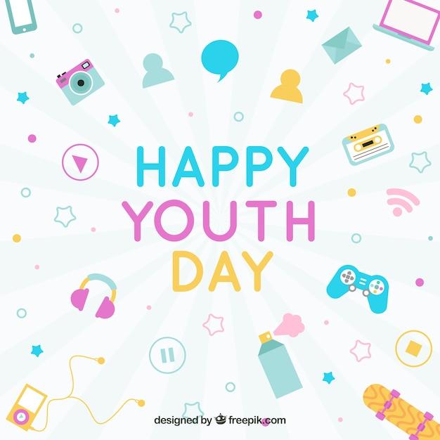 Fondo de feliz día de la juventud con elementos en diseño plano vector gratuito