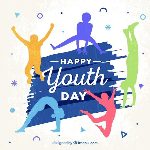 Fondo de feliz día de la juventud con siluetas de colores vector gratuito