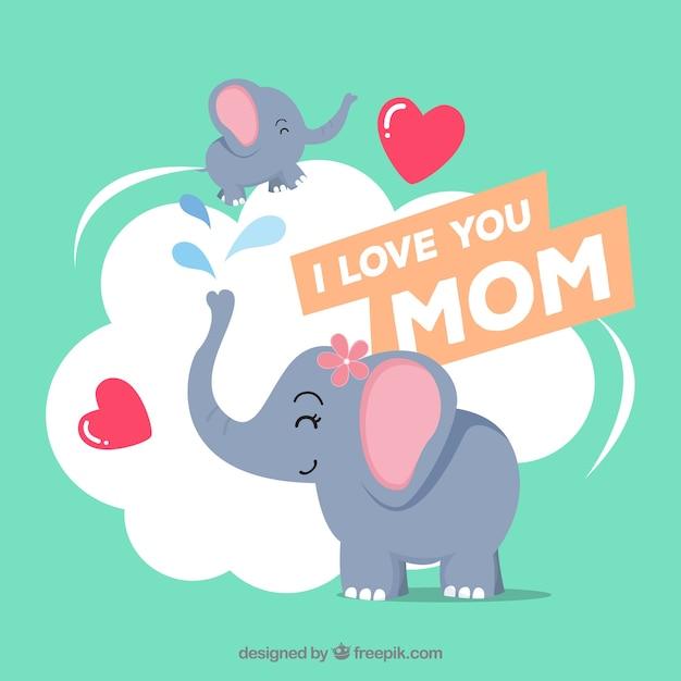 Fondo de feliz día de la madre con familia Vector Premium