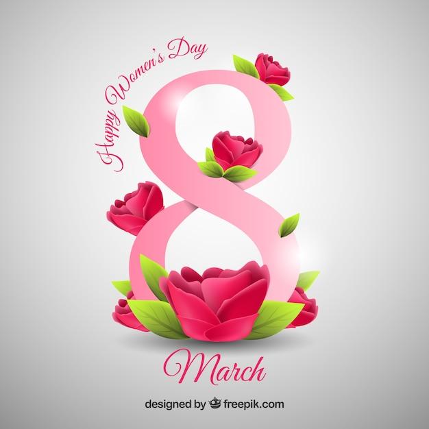 Fondo Feliz Día De La Mujer En Estilo Realista Descargar Vectores