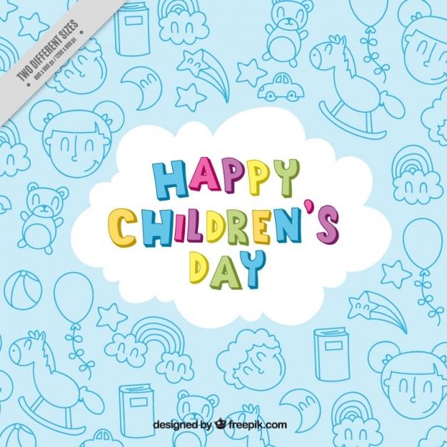 Fondo De Feliz Día Del Niño Con Dibujos Descargar Vectores Gratis