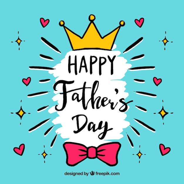 Fondo de feliz día del padre en estilo hecho a mano vector gratuito