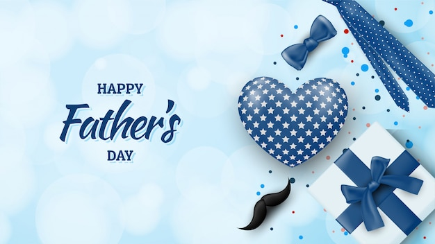 Fondo feliz del día del padre con ilustraciones de globos, cajas de regalo, bigotes, cintas y corbata. Vector Premium