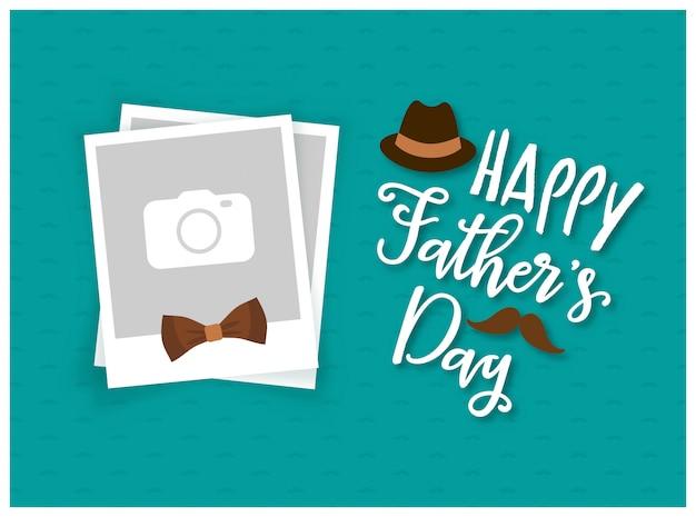 Fondo de feliz día del padre con marco de fotos Vector Premium