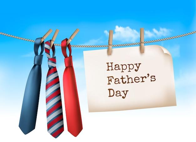Fondo feliz del día de padre con tres lazos en cuerda. ilustración Vector Premium