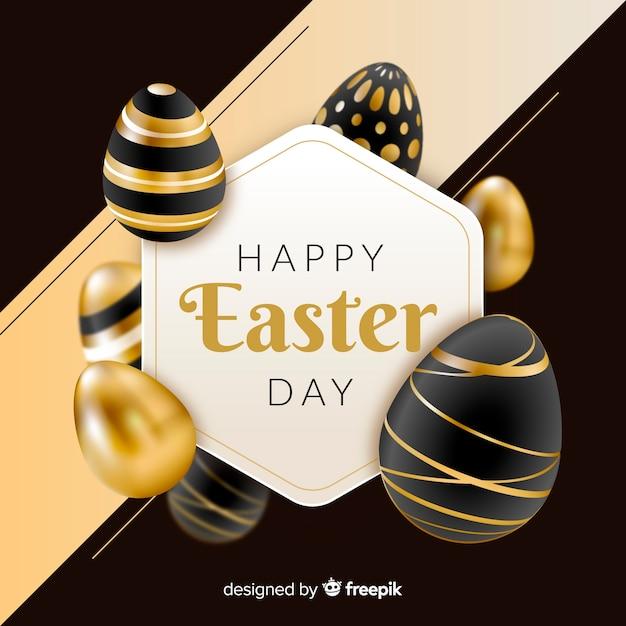 Fondo feliz día de pascua en negro y dorado vector gratuito