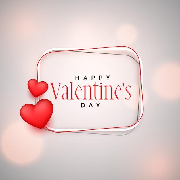 Fondo feliz del día de tarjetas del día de san valentín con los corazones 3d