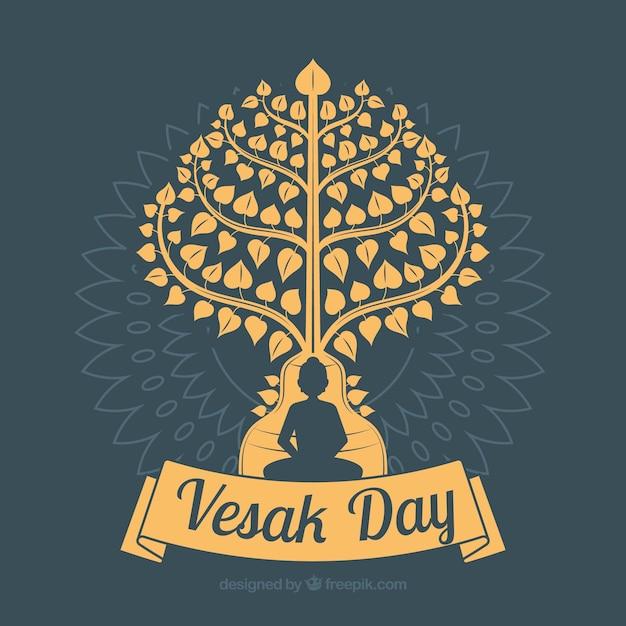 Fondo de feliz día de vesak vector gratuito