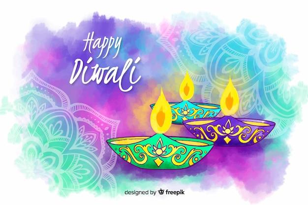 Fondo feliz diwali acuarela vector gratuito