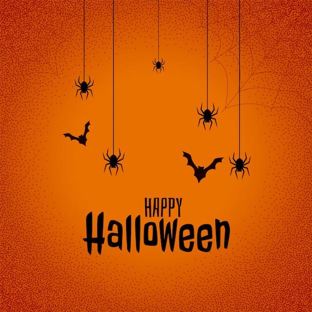 Fondo feliz festival de halloween con murciélagos y araña vector gratuito