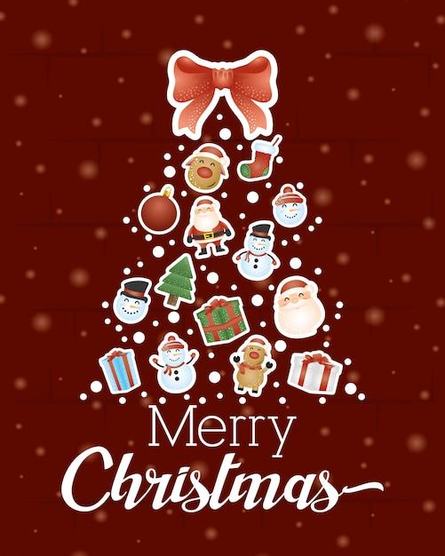 Fondo feliz navidad con árbol de navidad vector gratuito