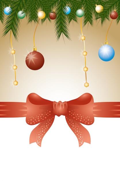 Fondo feliz navidad con bolas y decoración de hojas vector gratuito