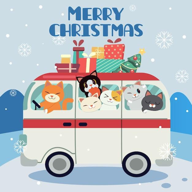 Fondo feliz navidad con una camioneta llena de gatos Vector Premium