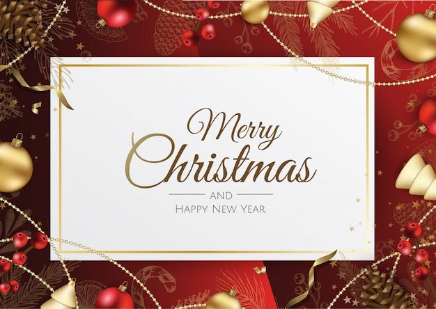 Fondo feliz navidad con elementos navideños Vector Premium
