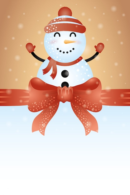 Fondo feliz navidad con lindo personaje de muñeco de nieve vector gratuito