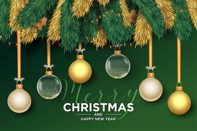 Fondo de feliz navidad con marco de bolas realistas vector gratuito