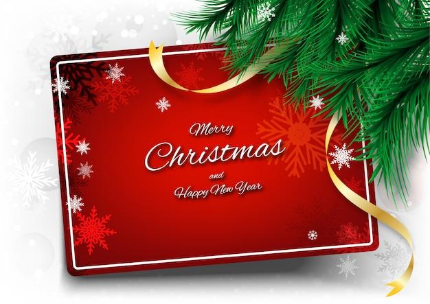 Fondo feliz navidad con texto de marco y cinta Vector Premium