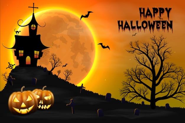Fondo feliz de la noche de halloween con la casa asustadiza encantada y la luna llena. Vector Premium