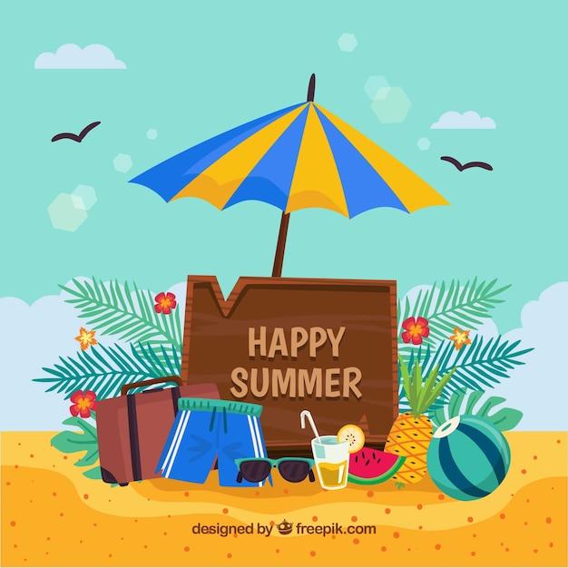 fondo de feliz verano con objetos de playa descargar vectores gratis