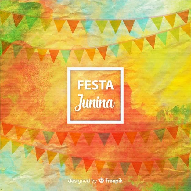 Fondo de festa junina en acuarela vector gratuito
