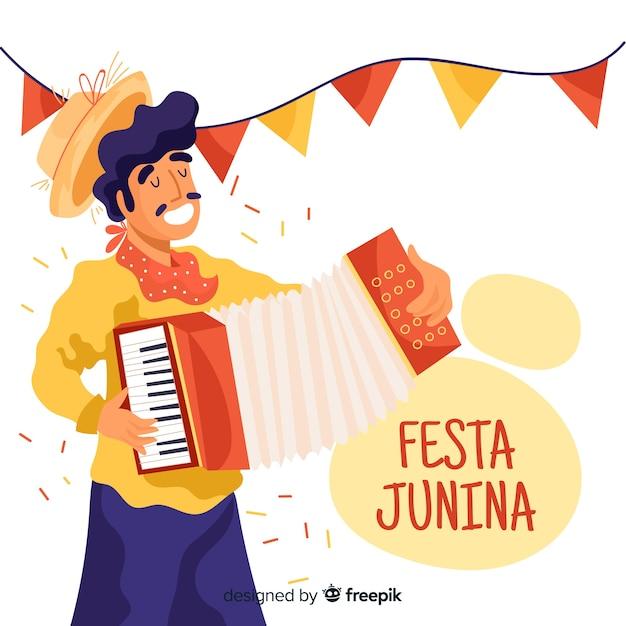 Fondo de festa junina dibujado a mano vector gratuito