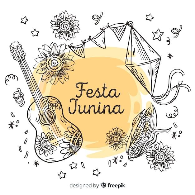 Fondo de festa junina dibujado a mano Vector Premium