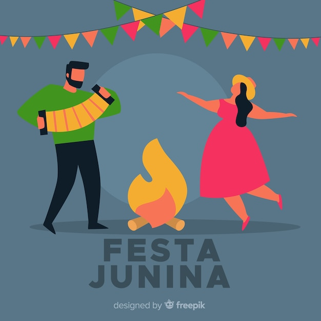 Fondo de festa junina en diseño plano vector gratuito