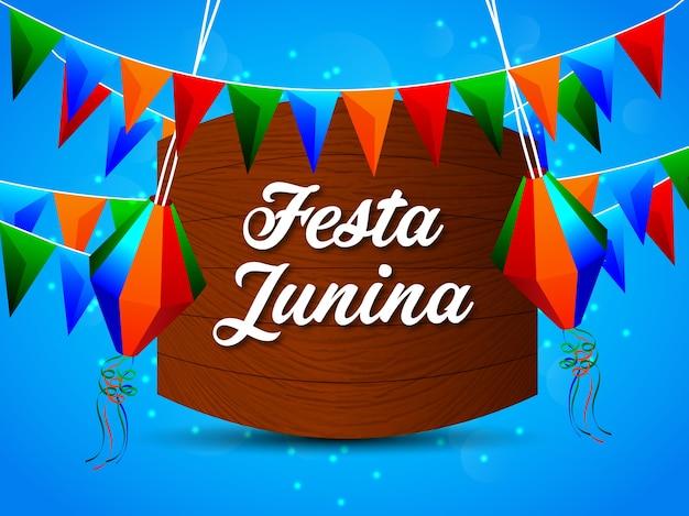 Fondo de festa junina con elemento Vector Premium