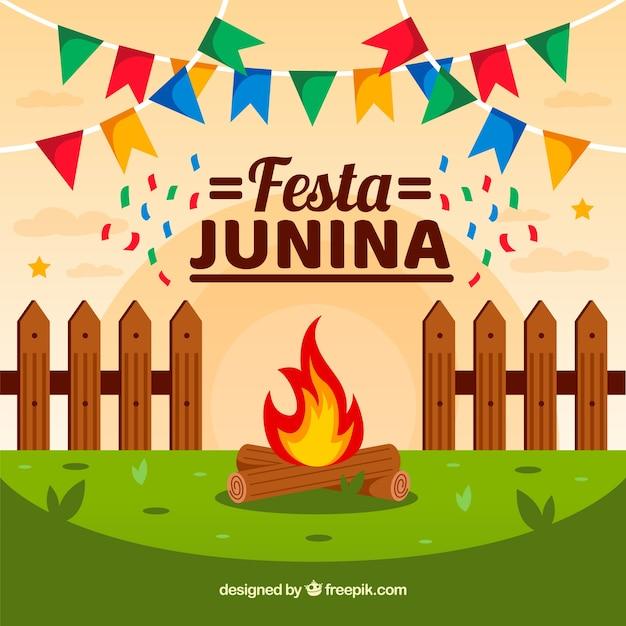 Fondo de festa junina en estilo flat vector gratuito