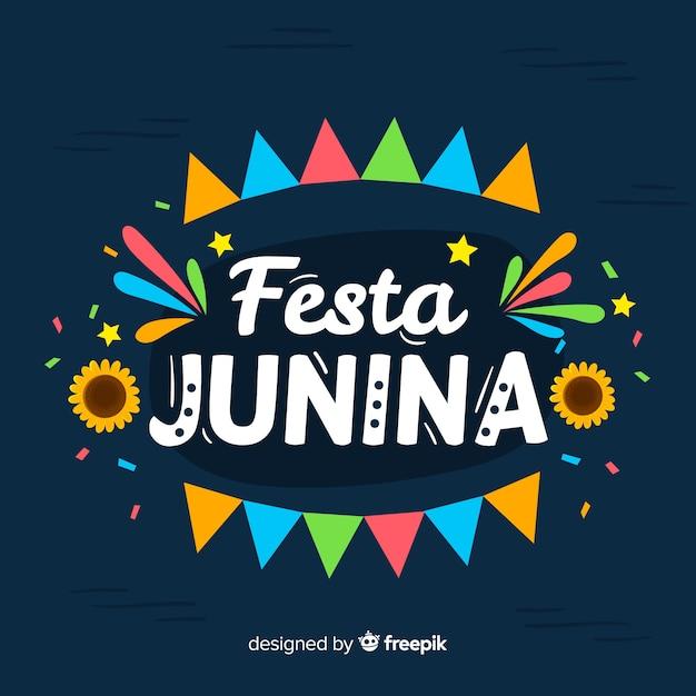 Fondo de festa junina flat vector gratuito