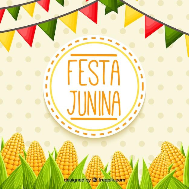 Fondo de festa junina con mazorcas vector gratuito