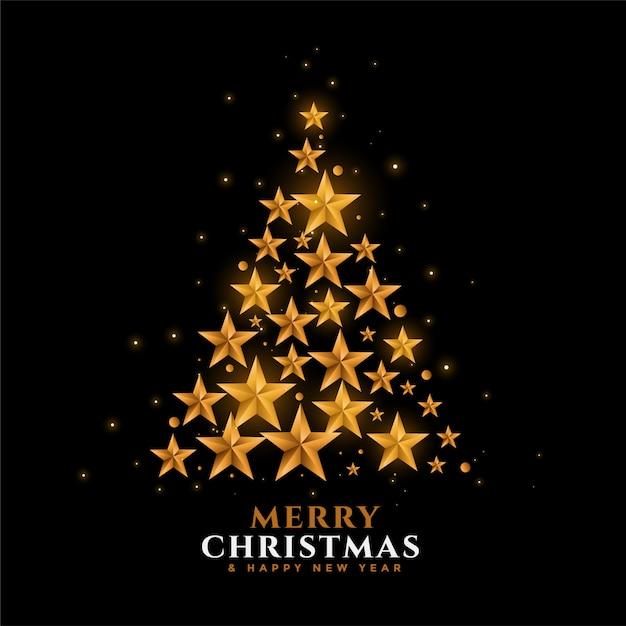 Fondo de festival de árbol de navidad de estrellas doradas vector gratuito