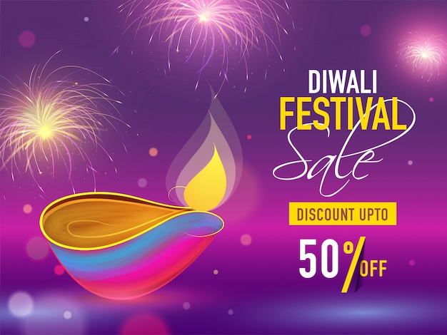 Fondo del festival de diwali. Vector Premium