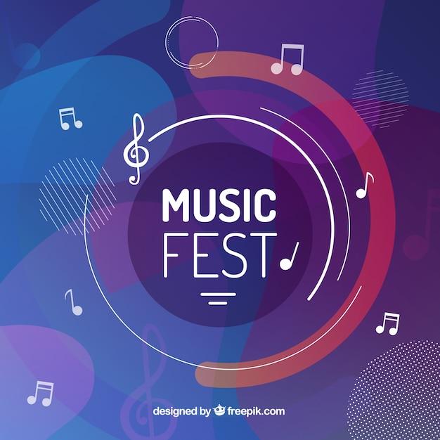 Fondo de festival de música con notas musicales vector gratuito